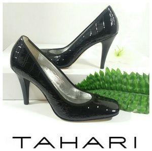 TAHARI Enya Black Croc Patent Leather Pump